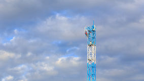 Worker working on communication tower Royalty Free Stock Photo