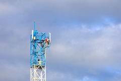 Worker working on communication tower Royalty Free Stock Images