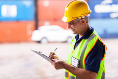Worker working harbor Stock Photo