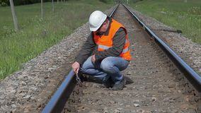 Worker working on the railway stock footage