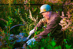 The worker is working at sunset outdoors. The worker works in bushes at sunset Stock Photos