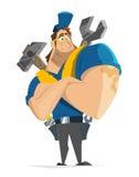 Worker workman handyman repairman mechanic man vector character. Vector character illustration of fly worker workman man handyman repairman working in car or Royalty Free Stock Images