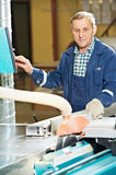 Worker at workshop with circ saw Royalty Free Stock Photos