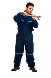 Worker with wrench Royalty Free Stock Images