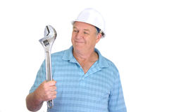 Worker With Wrench Royalty Free Stock Photo