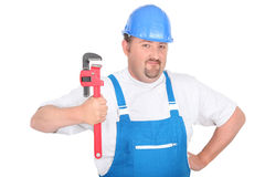 Worker with wrench Stock Image