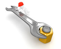 Worker with Wrench and bolt (clipping path included) Stock Image