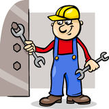 Worker with wrench cartoon illustration Royalty Free Stock Photo