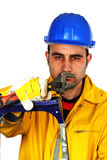 Worker with a wrench Stock Photo