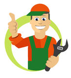 Worker with wrench Stock Images