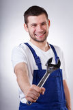 Worker with a wrench Stock Photos