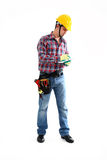 Worker is writing. Manual Worker is writing on the white background. Isolated on white royalty free stock image