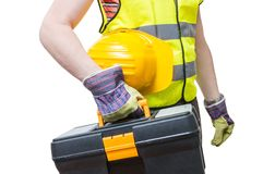 Worker with yellow helment holds toolbox.  on white Stock Photos