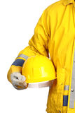 Worker with yellow helmet Stock Image