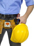 Worker with yellow helmet and construction tools Royalty Free Stock Photography