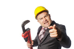 Worker in yellow helmet Royalty Free Stock Images