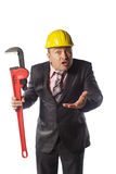 Worker in yellow helmet Royalty Free Stock Image