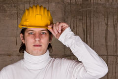 Worker with yellow helmet Royalty Free Stock Photos