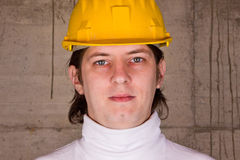 Worker with yellow helmet Stock Photos