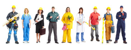 Workers. Business people, builders, nurses, doctors, workers. Isolated over white background Royalty Free Stock Images