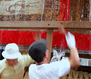Workers. Two mens working to build a float at Gion Matsuri Royalty Free Stock Images