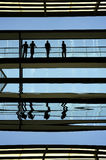 Workers. Inside the modern building in silhouette Royalty Free Stock Photography
