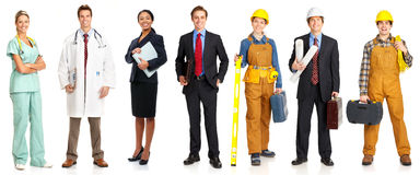 Workers. Businessman, builder, nurse, architect. Isolated over white background