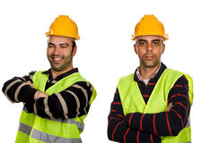 Workers. Two young workers in a white background Royalty Free Stock Photography