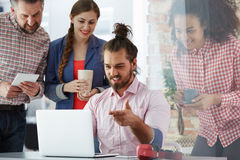 Workers of advertising agency. Working on new campaign Royalty Free Stock Photography