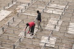 Workers african guys construction stage Stock Photo