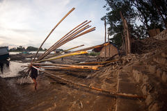 Workers ashore carrying bamboo. Stock Images