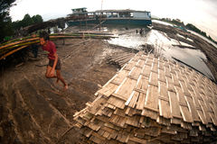 Workers ashore carrying bamboo. Royalty Free Stock Image