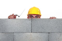 Workers behind wall Stock Image