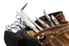 Workers belt with tools. On white background Royalty Free Stock Photo