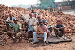 Workers in a brickyard Royalty Free Stock Photography