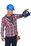 Workers with broken chainsaw Stock Photos