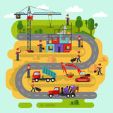 Workers build a house. Flat design vector landscape illustration of construction process. Workers build a house. Including crane, bulldozer or excavator Stock Images
