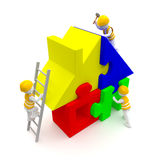 Workers are building a puzzle house. 3d rendering. Construction engineers building a puzzle house or home. A UHD 3D rendered illustration of 4320x4320 resolution Stock Photo