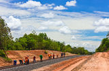 Workers  building a railway. Workers were building a railway Royalty Free Stock Images