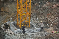 The workers are building walls On the SHENZHEN construction site Stock Photography