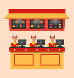 Workers with Cash Register in Cafe Royalty Free Stock Images