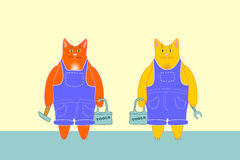 Workers cats. Two ginger cats in overalls with tool box, hammer and wrench Vector Illustration