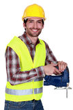 Workers with chain saw Royalty Free Stock Photo