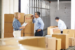 Workers Checking Goods On Belt In Distribution Warehouse. Male And Female Workers Checking Goods On Belt In Distribution Warehouse Royalty Free Stock Photography