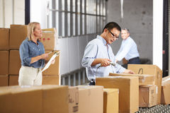 Workers Checking Goods On Belt In Distribution Warehouse. Male And Female Workers Checking Goods On Belt In Distribution Warehouse royalty free stock images