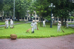 Workers clean a park Royalty Free Stock Photo