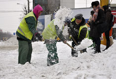 Workers cleaning city snow Stock Image