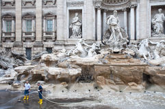 Workers cleaning the Trevi Fountain, Rome Stock Photos