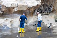 Workers cleaning the Trevi Fountain, Rome Royalty Free Stock Image