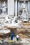 Workers cleaning the Trevi Fountain, Rome Royalty Free Stock Photography
